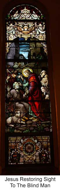 Jesus Restoring Sight to Blind Man Stained Glass Window